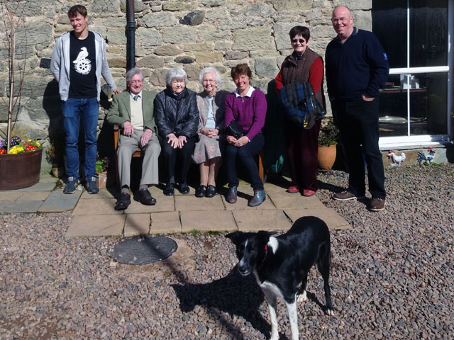 Robbie, Eric, Aunt Agnes, Mum, Jill, Rachel and Martin (with Rowan getting into the picture and enjoying the April sunshine)