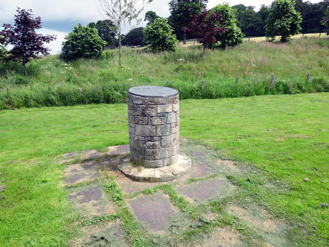 This is the memorial which marks the place where John Duns Scotus was born in 1266. At that time the village was here before being moved in later times (as ...