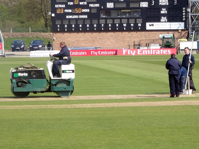 Activity on the pitch after the Somerset innings closed as the wicket is prepared for Durham\u0027s turn to bat